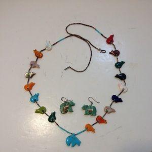 Native American Zuni fetish necklace & earrings